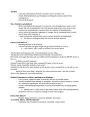 Substance use and Abuse Alcohol Notes