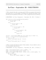 In-Class Assignment 3 SOLUTIONS