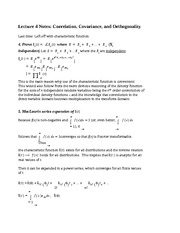 Lecture 4 Notes Correlation, Covariance, and Orthogonality