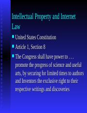 Intellectual Property and Cyberlaw
