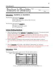 Chemquest 5 - Numbers in Chemistry