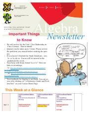 Algebra Newsletter 9 2