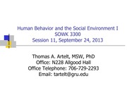 GRU SOWK 3300 Session 11- The Psychosocial Person: Relationships, Stress, and Coping