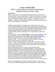 Polsc 170 exam 1 study guide