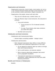 Organizations and Institutions Notes