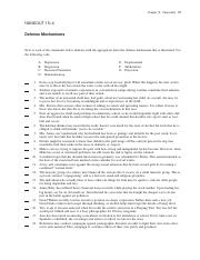 Defense Mechanism Practice Pdf Chapter 15 Personality 37 Handout