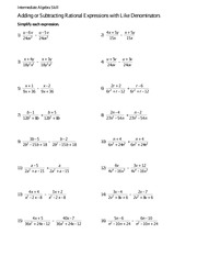 Math 0005 Adding or Subtracting Rational Expressions quiz ...