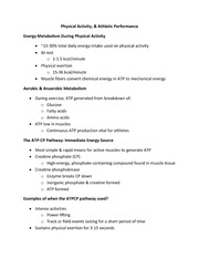 EXSC 200L - Physical Activity, & Athletic Performance Notes