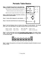 Periodic Table Worksheets Pdf Periodic Table Basics Step 1