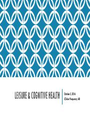 Leisure & Cognitive Health