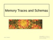 lecture 7 - memory trace and schemas
