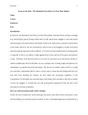 Essay on the book  -The Absolutely True Diary of a Part Time Indian.docx