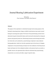 Journal Bearing Lubrication Experiment