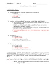KEY Characteristics of Living Things Study Guide 2012 13
