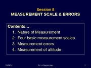 Session 8 - MEASUREMENT SCALE and ERRORS