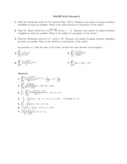 Math 2132 Tutorial 5 and 6