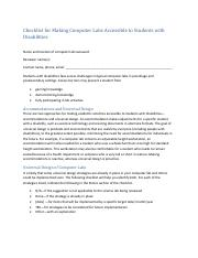 Checklist for Making Computer Labs Accessible to Student with Disabilities