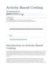 Activity Based Costing explained