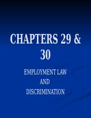 CHAPTERS 29 & 30 - Employment Law and Discrimination.pptx