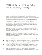BSHS 352 Week 2 Utilizing Online Social Networking Sites Paper