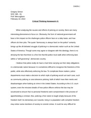 Police and Society Critical Thinking HW 1