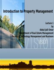 Topic 1-Introduction to Property Management