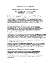 Ch. 9 Global Market Entry Strategies