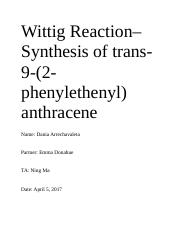 wittig reaction lab report discussion
