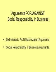 02 Arguments - Social Responsibility in Business