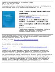 19 - Usefulness of the EFQM excellence model Theoretical explanation of some conceptual and methodol