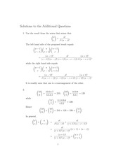 MATH 10101 Fall 2012 Additional Practice Problems Solutions