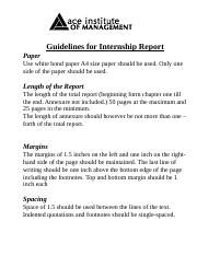 Internship Report Guidline