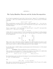 Lecture 18 The Cayley-Hamilton Theorem and the Jordan Decomposition