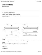 Shear Force in a Beam Lab Report | Green Mechanic.pdf