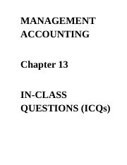ICQs - Chapter 13 Questions