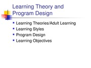 Learning & Prog. Design