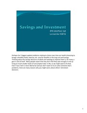 savings and investment after class