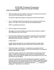 Strategy Purpose and Outcome Worksheet