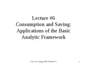 Consumption and Saving:The Basic Analytic Framework