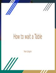 How to wait a Table