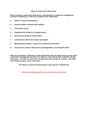 Classroom Observation & Management Rubric