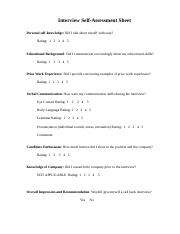 Interview self-assessment sheet