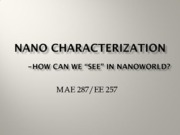 Nano Science (Lec2 Nano Characterization)