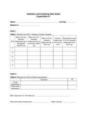 Statistics and Graphing Data Sheet