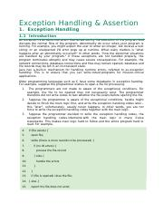 8. Exception Handling