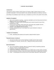 Task 4- Part b -Customer Service Report 1