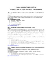 Operating Systems - CS604 Mid Term Solved Paper