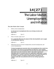 Chapter14 Labour Market, unemployment and inflation