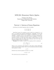 Lecture Notes on Systems of Linear Equations