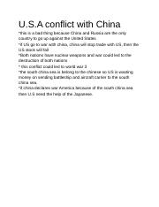 Usa conflict with china opion .docx